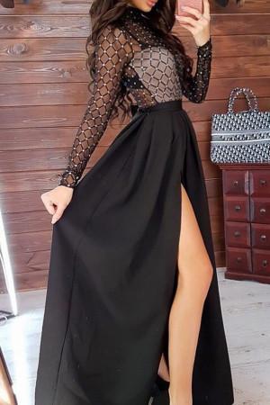 See Thru Mesh Panel Skirt Set