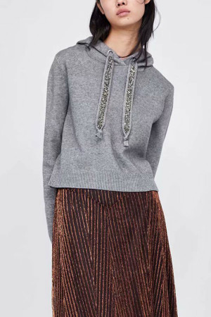 Sequin Drawstring Knit Hoodie