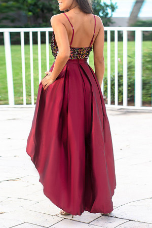 Sequin Panel High Low Satin Dress