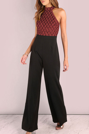 Sequin Patched Halter Jumpsuit