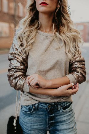 Sequin Patchwork Scoop Sweatshirt