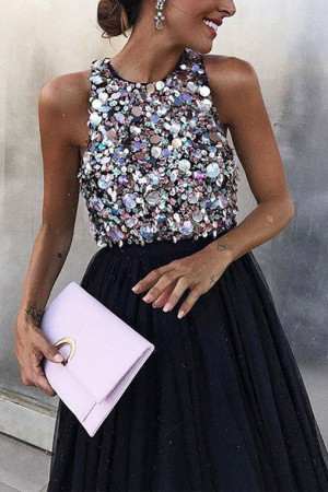Sexy Sleeveless Beaded Dress