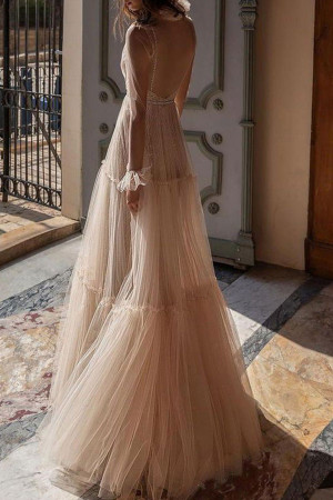 Sexy Backless Overlay Prom Dress