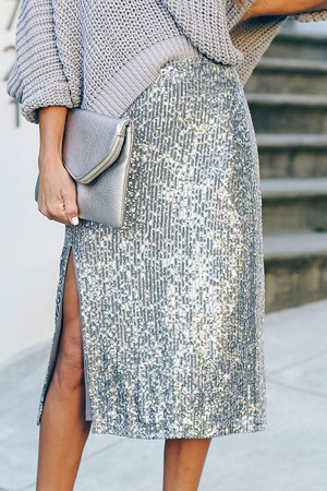 Side Split Sequin Skirt