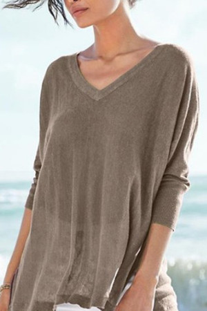 Simple Solid V-neck Sweater