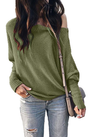 Slant Collar Solid Sweater