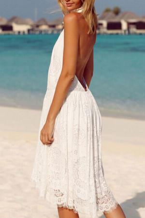 Sleeveless Backless Lace Dress
