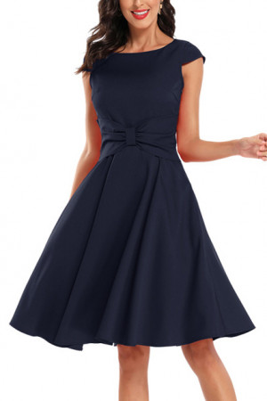 Sleeveless Bow Scoop Prom Dress