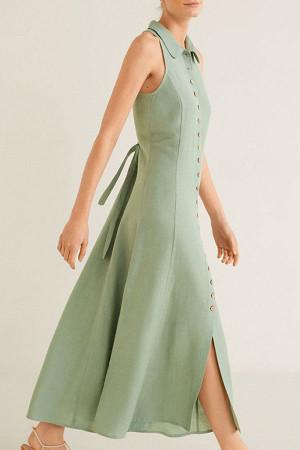 Sleeveless Button Up Shirt Dress