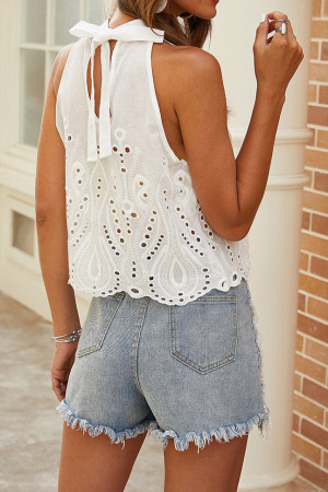 Sleeveless Cutout Crop Top