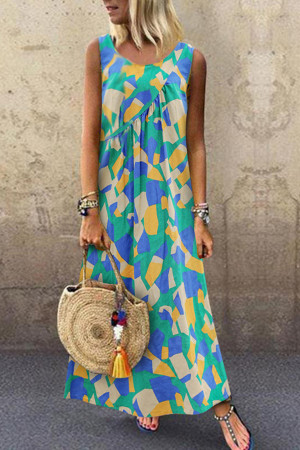 Sleeveless Printed Maxi Vest Dress