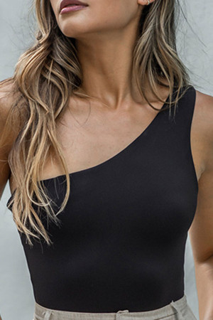 Sloping Shoulder Sleeveless Bodysuit