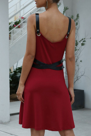 Solid Backless Cami Dress