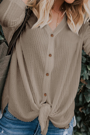 Solid Button Knotted Cardigan