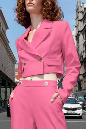 Solid Buttoned Crop Blazer