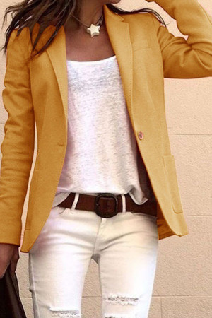 Solid Color Pockets Jacket