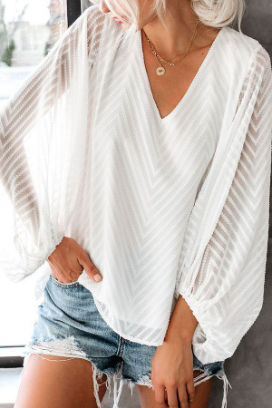 Solid Color Sheer Blouse