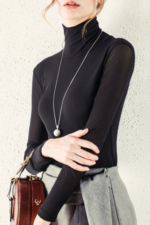 Solid High-Neck Blouse