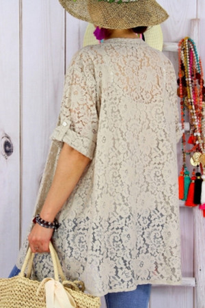 Solid Lace Cut Out Blouse