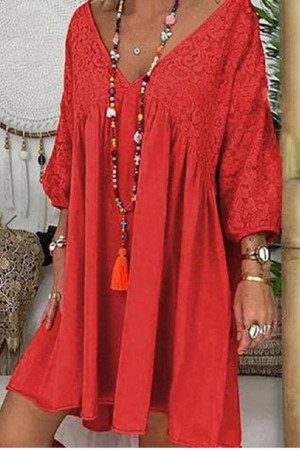Solid Lace Panel Loose Dress