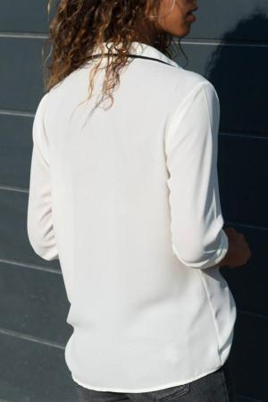 Solid Patchwork Chiffon Shirt