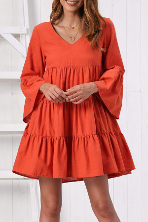 Solid Ruffle Mini Dress