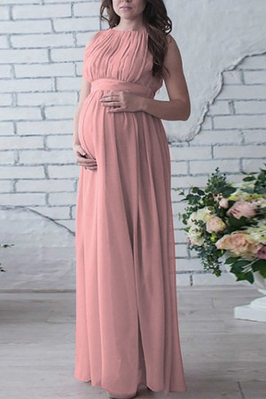 Solid Chiffon Maternity Dress