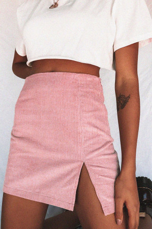Solid Split Mini Skirt
