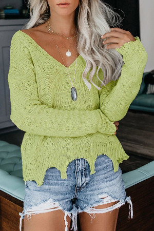 Solid V-neck Asymmetric Knit Sweater