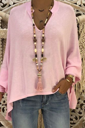 Solid V-neck Batwing Blouse