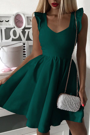 Solid V-Neck Flounce Dress