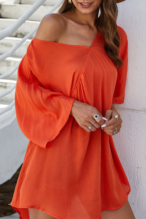 Solid V-Neck Loose Dress