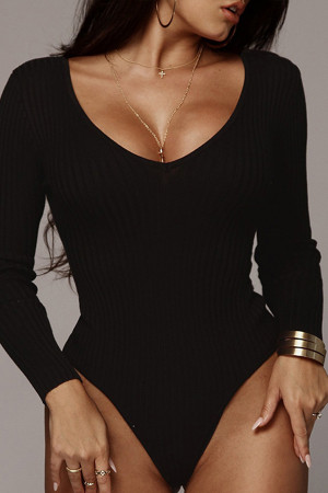 Solid V-neck Ribbed Bodysuit