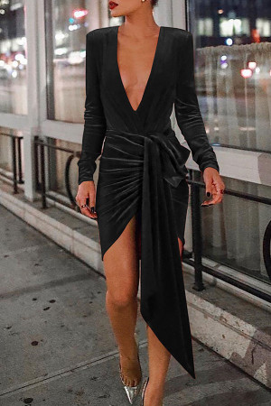 Solid  V-neck Slit Dress