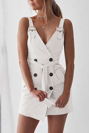 Solid V-neck Wrap Dress