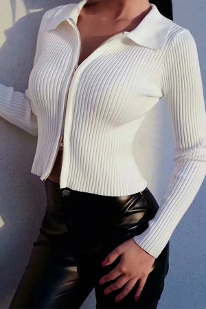 Solid Zipper Crop Knit Top