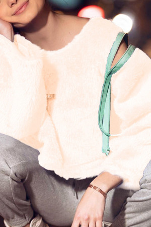 Solid Zipper Puffy Sweatshirt