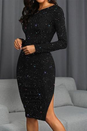 Sparkly Backless Split Dress