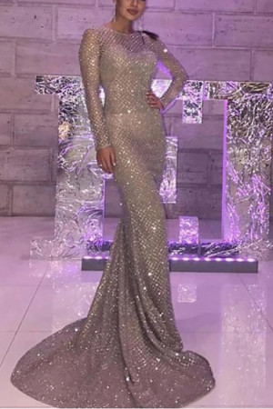 Sparkly Open Back Mermaid Dress