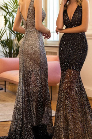Sparkly Sleeveless Backless Maxi Dress