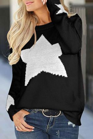 Star Print Scoop Sweater