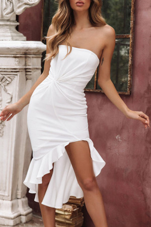 Strapless Twist Ruffled Dress