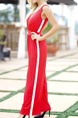 Stripe Side Wide Leg Jumpsuit