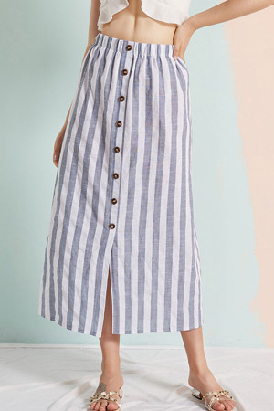 Striped Button Long Skirt