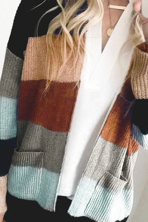 Striped Colorful Pocket Cardigan