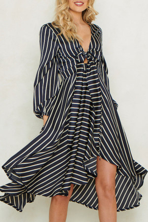 Striped Knot Front Midi Dress