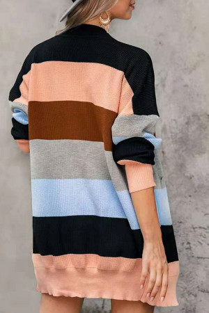 Striped  Pockets  Kit  Cardigan