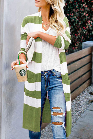 Striped Pockets Slit Cardigan