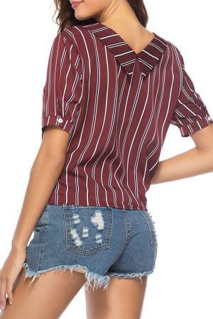 Striped String Buttons Shirt
