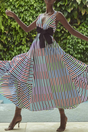 Striped V-neck Maxi Dress